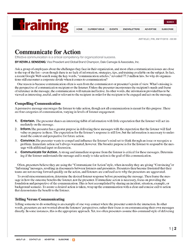 Communicate for Action
